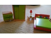 DOLL HOUSE FURNITURE Bedroom set with double bed, cupboard and side tables