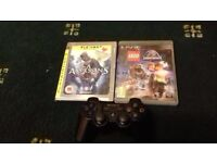 PS3 with controller, and games