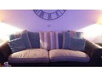 large sofa and chair. leather and fabric
