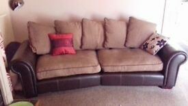 Leather Sofa 4 seater with fabric cushions