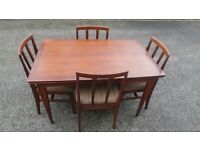 Mid Century Extending Dining Table & 4 Matching Dining Chairs by A.Younger Ltd,Can Deliver