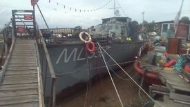 houseboat WW2 motor launch up to 7 beds picturesque mooring st.osyth historic liveaboard