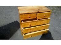 Solid pine two over three chest of drawers