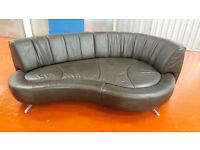 Extra Large Designer leather snuggle/love sofa with swivel back