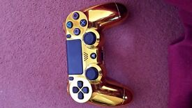 Playstation 4 control customised in gold..