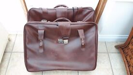 2 Large Constellation Leather Suitcases With Strap/Buckle Fastener