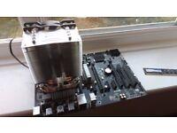 AMD FX4300 processor, Gigabyte GA-907A-DS3P motherboard, BeQuiet Pure Rock cooler