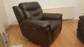 Real leather Brown electric recliner