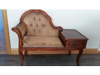 Telephone table / seat. Upholstered with drawer. Good condition.