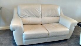 FREE - Leather 2 seater sofa + matching footstool
