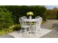 Pretty, Small Round Dining Table & 4 Chairs. Shabby Chic, Old White. Delivery Available.
