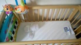 Mothercare Swinging Crib and Foam Mattress