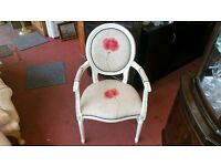 Chair - White Wood and Fabric With Rose Flower Image Queen / Princess Armchair
