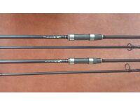 2 x Nash Entity 2.75lb tc abbreviated carp rods