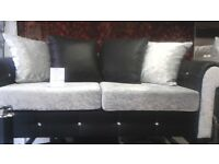 sofa for sale available now in 3 sitter and 2 sitter. The sofa is brand new and its black and silver