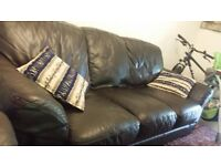 Two leather sofas ( suit)