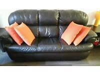 Leather sofa (black, 3+1+1)