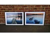 2 x Ikea black metal frames with free prints
