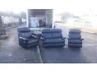 2,1,1 seater sofa in black leather ( all reclining) £185 delivered