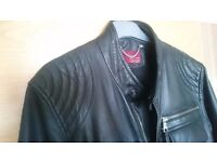 Men's stylish Zara leather bomber biker jacket size M medium chest slim fit 38