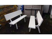 Garden Benches - white plastic