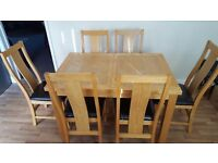 USED DINEING TABLE AND 6 CHAIRS LIGHT OAK