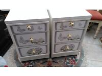 Pair of Bedside Cabinets in White Shabby Chic