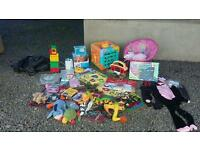 Toys and other items including brand new halloween dress up outfits