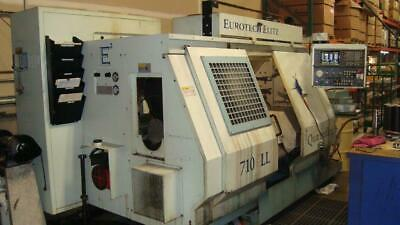 Used Eurotech 710sll Cnc Lathe 1997 Twin Turrets Live Tool Sub Spindle 2.7 Bar