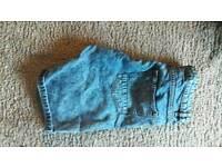 Blue denim acid wash shorts