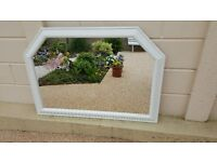 Over mantle glass mirror in a pine frame...finished in Annie Sloan'old white' (U)