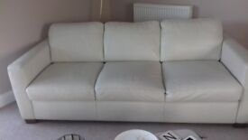 Cream leather 3 seat sofa and 2 chairs modern Italian design good condition