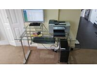 Desktop PC with speakers and all in one hp printer