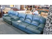 PRE OWNED Green Leather Contour 3 + 2 Seater Sofas