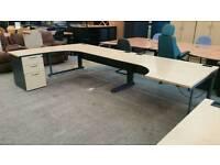 Curved office desks excellent condition