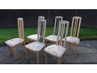6 Reccor High back Light wood dining chairs