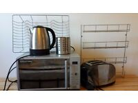 Chrome / silver kitchen set; microwave, kettle, toaster, spice rack, dish drainer