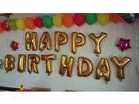 birthday foil balloons x4 pink swirls gold pink green silver