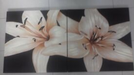 large brown/cream flower canvas x 2 parts