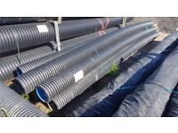 Polypipe Rigidrain Twinwall Perforated pipe 225mm x 6m for various water drainage applications.