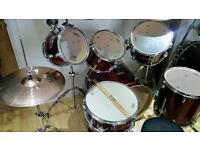 Mapex Drum kit w/ extra tom, sabian cymbals, Mapex carry bags and vic firth practice pads