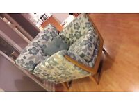Chair, footstool and two seater sofa