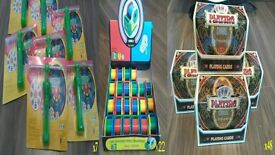 Job Lot Playing Cards, Kids Mini Sharpener/Tape, and Spinning Toys, 67 items for boot sale etc