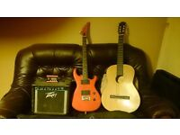 Electric guitar and Acoustic guitar plus amp