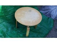 Round occasional table with glass shelf. Perfect up-cycle project