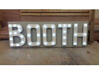 "Large ""BOOTH"" LED sign - Wedding, Photobooth, Vintage"