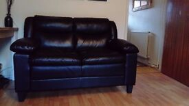 Compact 2 Seater Black Faux Leather Sofa