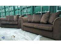 NEW Anita 2 x 3 seater Sofa Set Chocolate with Sofa Bed function DELIVERY AVAILABLE