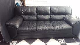 3 seater x 2 seater black leather sofa