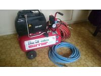 Air compressor, 30l, oil free, 2HP +2 hoses
